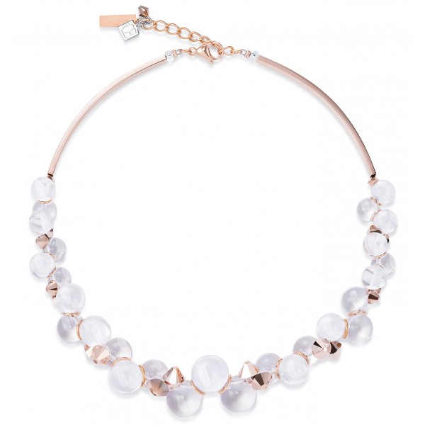 Limited edition necklace of Lucite balls, Swarovski® Crystals & stainless steel rose gold